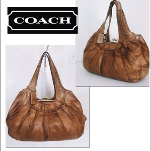 Coach Ergo Large Vachetta Pleated Leather  Hobo